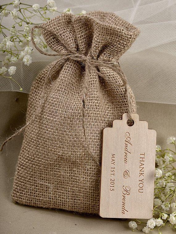 Natural Rustic Burlap Wedding Favor Bag Bags County Style Custom Wood Tag