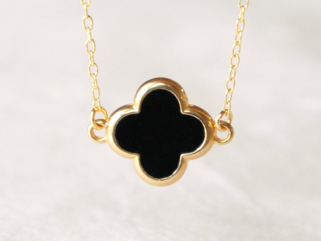 Black Four Leaf Clover Necklace Delicate 14k Gold Filled Chain Modern Minimalist Jewelry For Every Clover Necklace Four Leaf Clover Necklace Four Leaf Clover