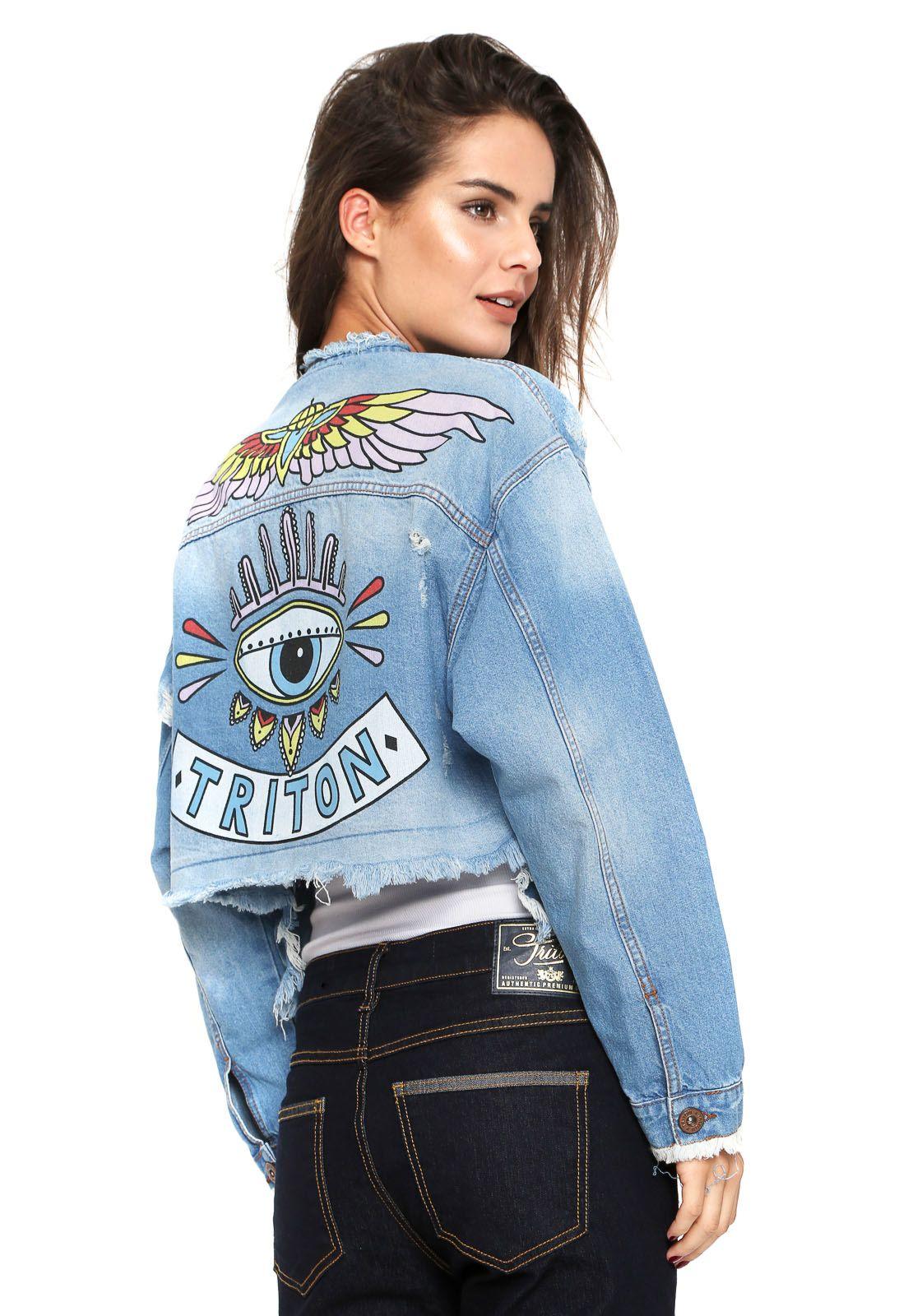 f7790dcc8d Jaqueta Jeans Triton Estampada Azul - Marca Triton