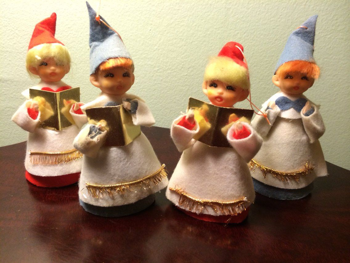Christmas Carol Singers Ornaments.Vintage Holiday Christmas Boy Girl Choral Singers