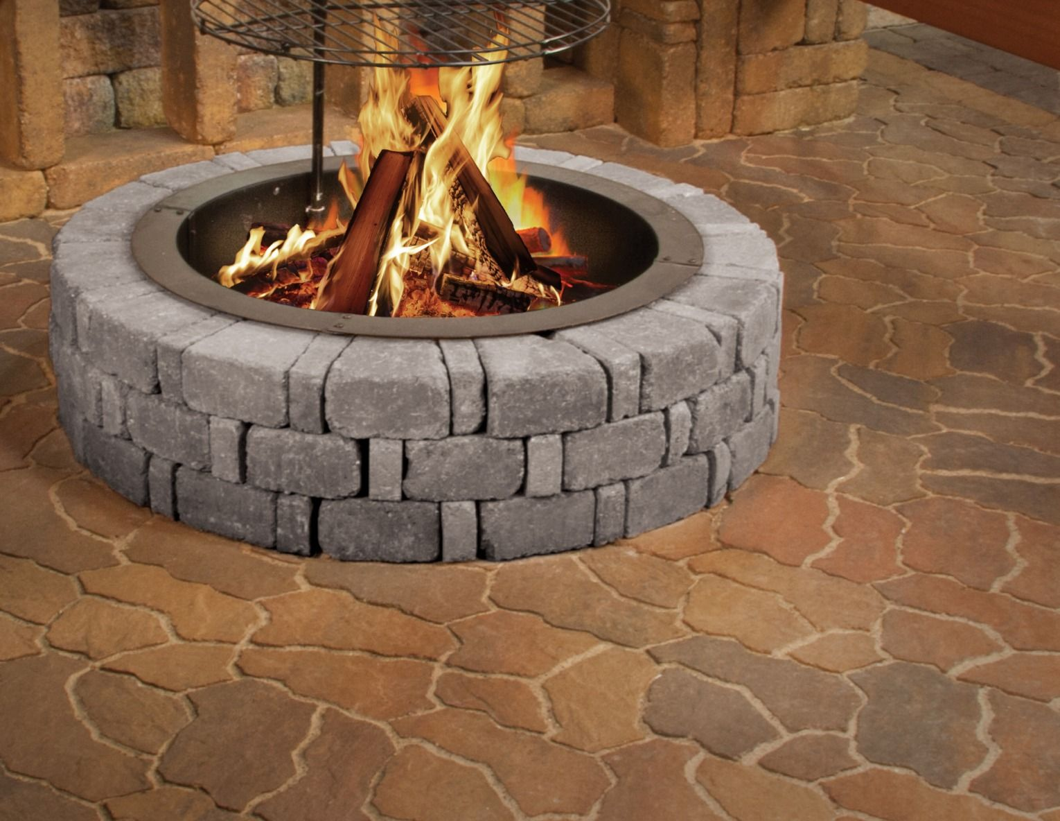 Grill Up Some Good Times With The Albany Fire Ring Comprised Of Belgian Blocks This Sturdy Structure Conjures Up Warm Am Fire Pit Fire Pit Grill Fire Pit Kit