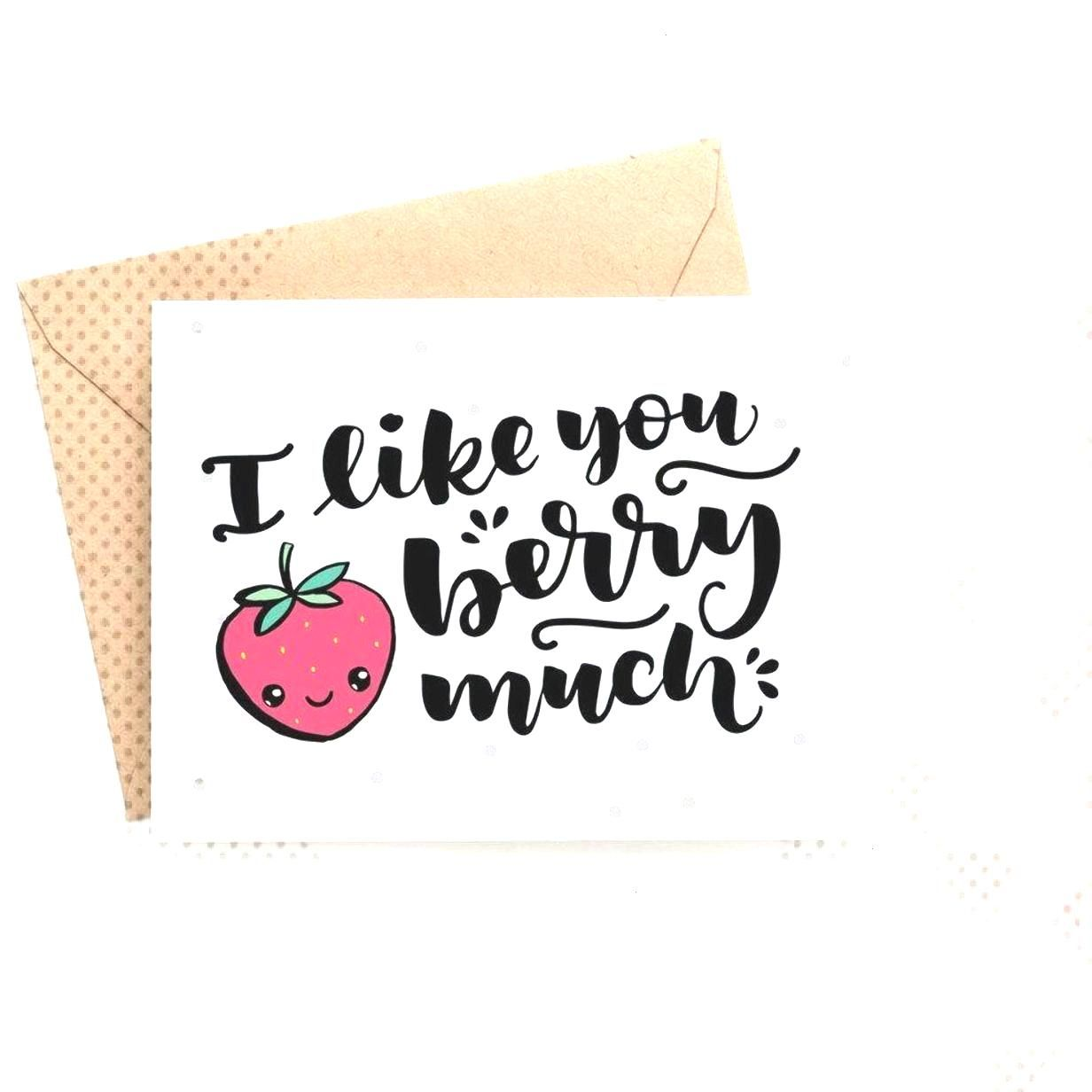 Surprise your valentine with this adorable hand-drawn Valentines Day card. It says I like you berr