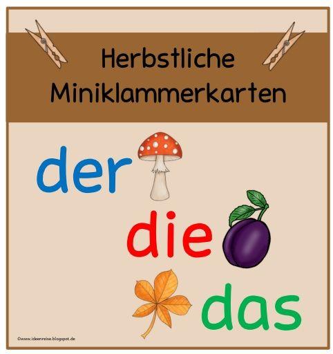 Herbstliche Miniklammerkarten zum Bestimmen des Artikels      Nachdem es nun für Frühling und Sommer schon Miniklammerkarten gibt, habe ich...
