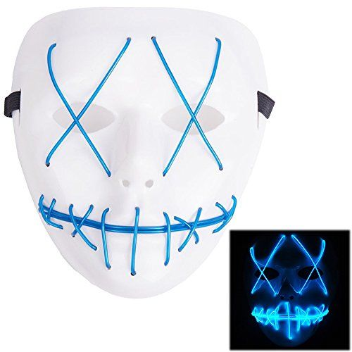 YICHUMY Light up Mask Scary Mask Halloween Cosplay Led Costume Mask Party Cool Mask for Festival Parties LED Mask Light Up Guy Fawkes Anonymous V for Led Mask Halloween Party,Blue Light
