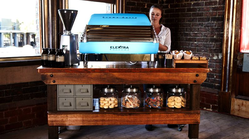 Portable Coffee Maker For Work : Vintage Timber Work Bench with Blue Elektra Balume Mobile coffee Pinterest Coffee carts ...