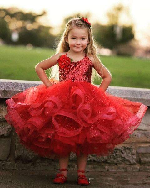 1f34c81d02f3 2017 New Design Lovely Red Girls Pageant Dresses Halter Neck Sequins ...