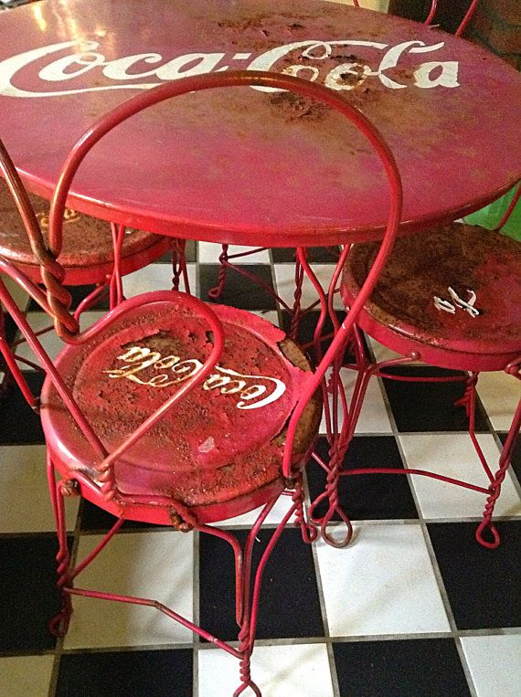 coca cola chairs and tables gerrit rietveld chair sold to stacey vintage ice cream parlor table sale through 1 3114 cocacola by hueisit 225 00 even the rust i love it
