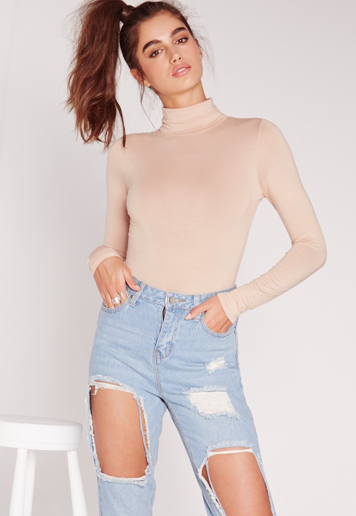 Missguided - Long Sleeve Turtle Neck Bodysuit Nude  ae71f2106