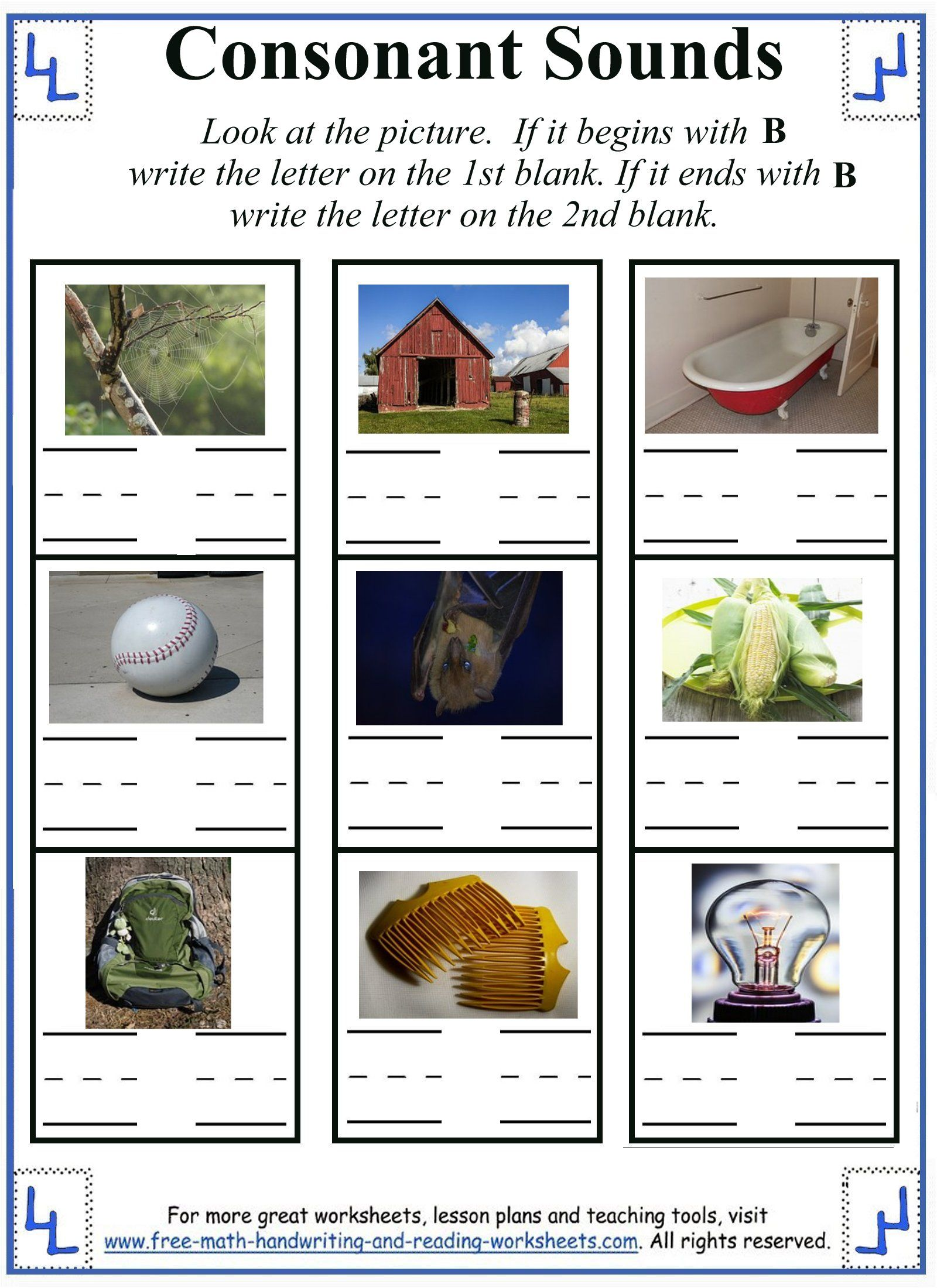 Beginning And Ending Sound B Activity Sheet
