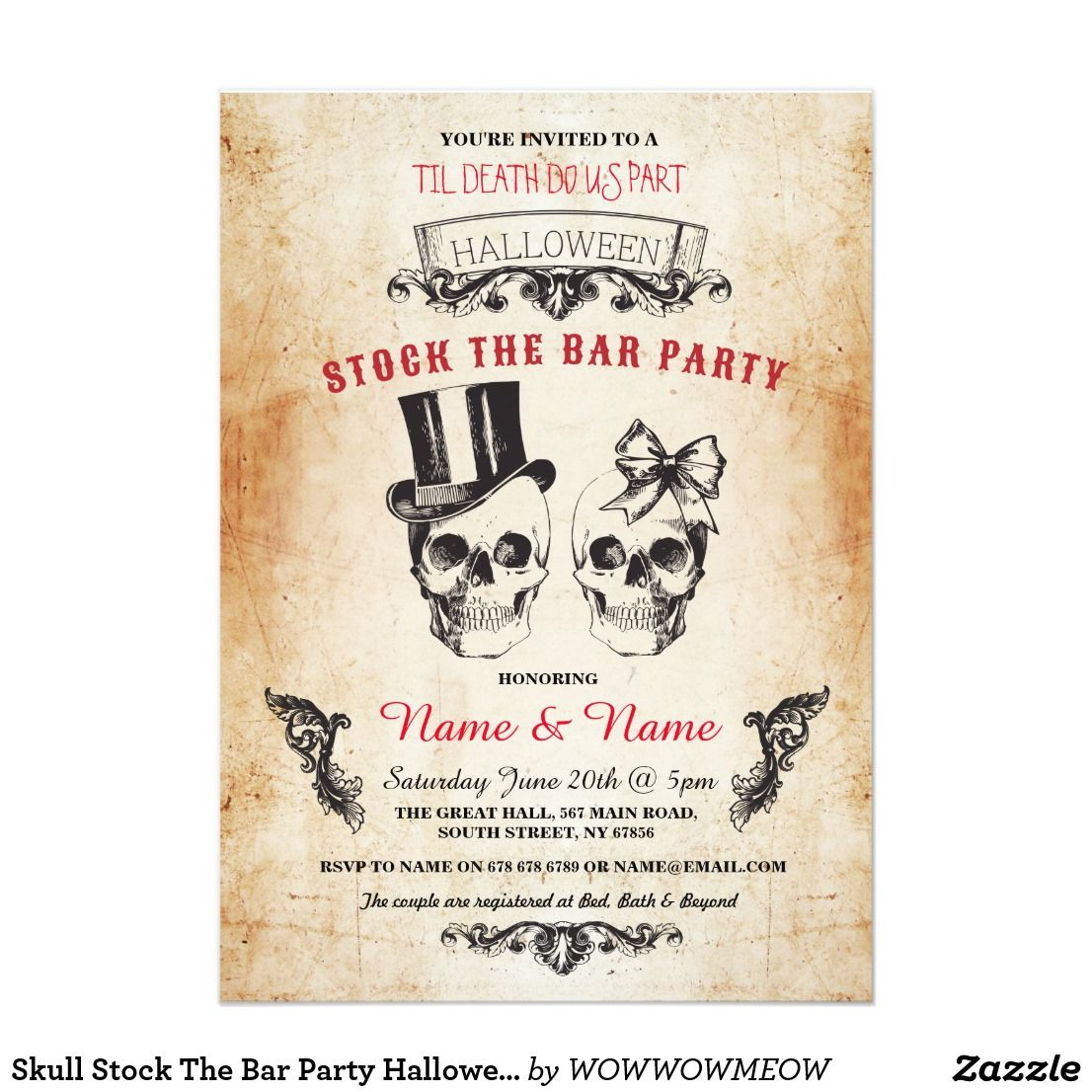 Skull Stock The Bar Party Halloween Gothic Invite | Engagement ...