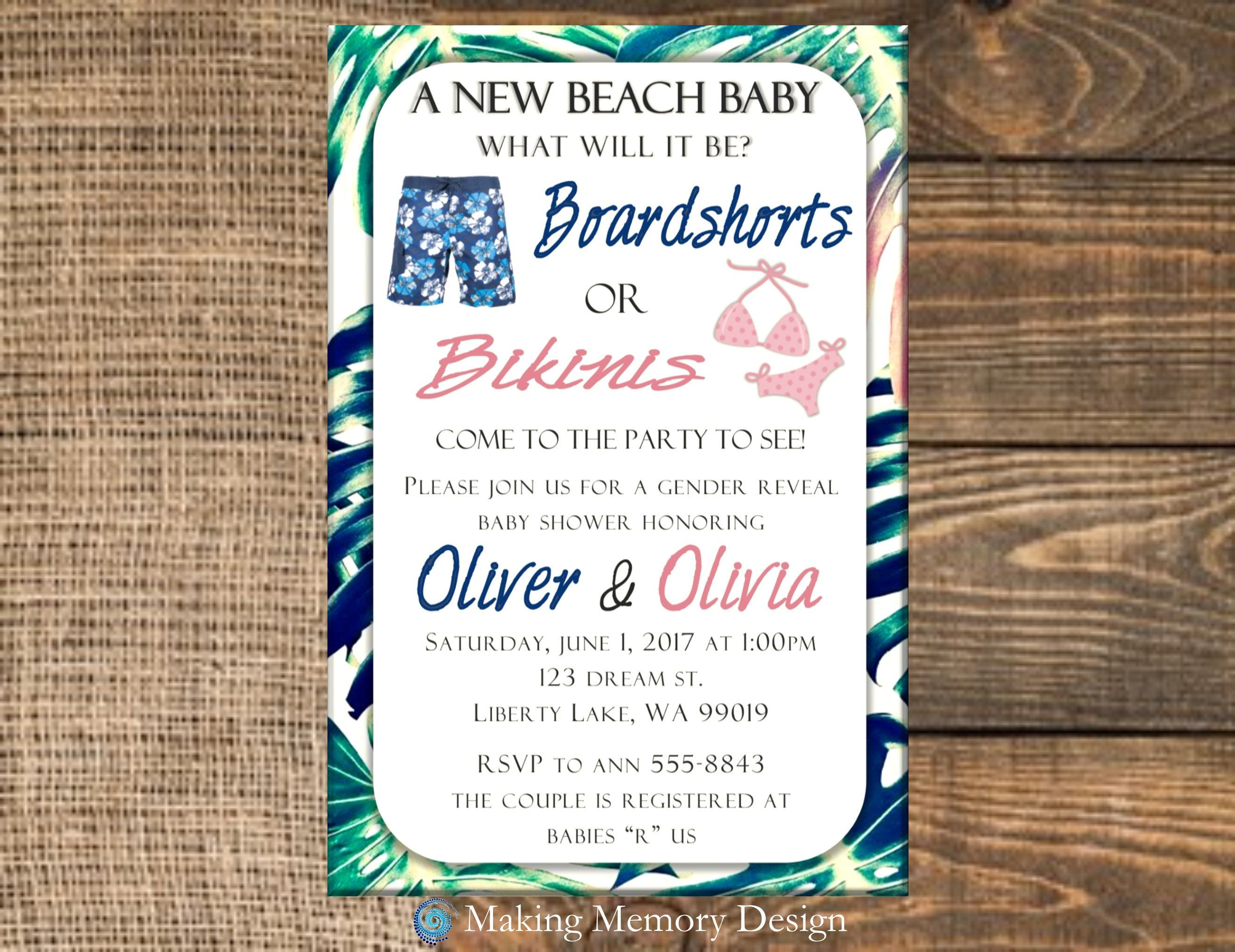 Boardshorts or Bikinis Gender Reveal Baby Shower Invitation by