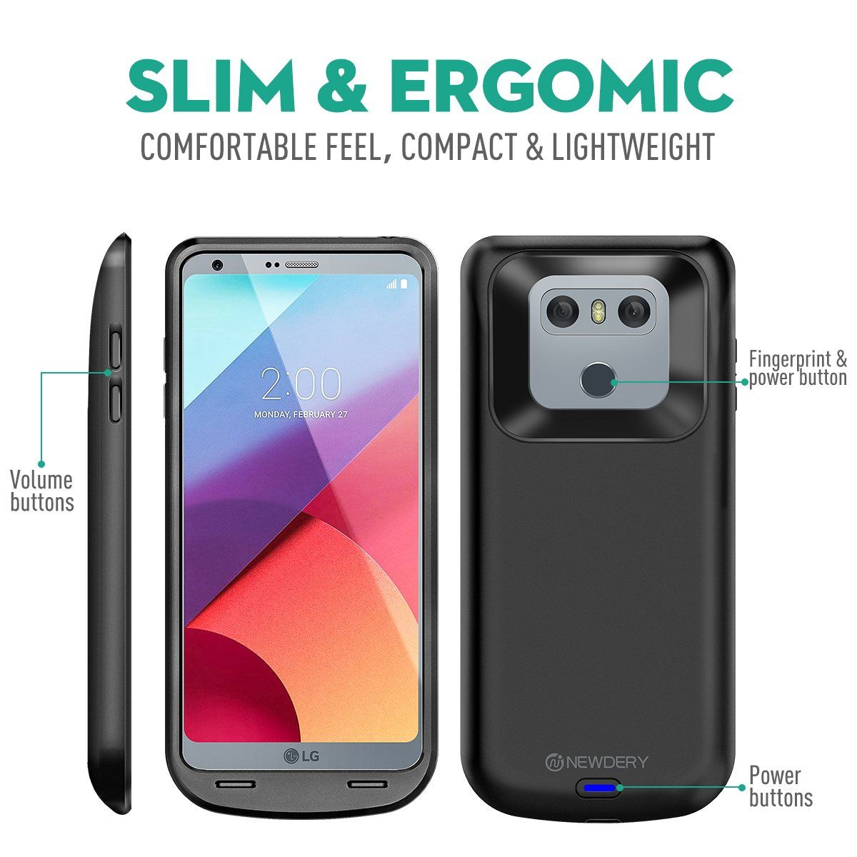 official photos c4ee9 f792b LG G6 Battery Case 5000mAh Newdery LG G6 / G6 Portable Extended ...