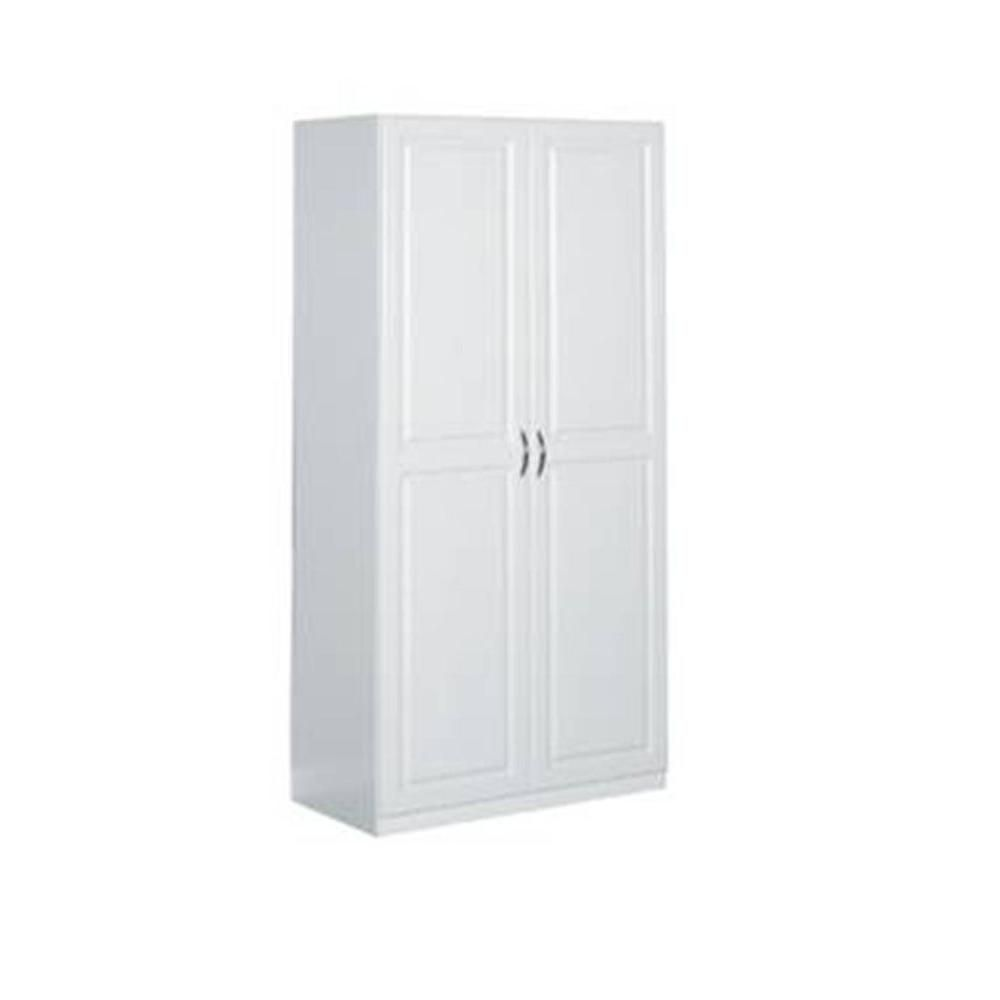 Closetmaid 71 75 In H X 36 In W X 18 625 In D Laminated 2 Door Raised Panel Storage Freestanding Cabinet In White 12316 The Home Depot White Storage Cabinets Freestanding Storage Cabinet Closetmaid