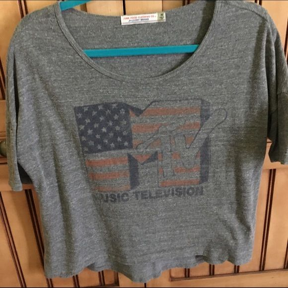 Mtv shirt Vintage from lucky brand. Material supposed to look worn out. Loose near armpit. Should easily fit a small Lucky Brand Tops Tees - Short Sleeve