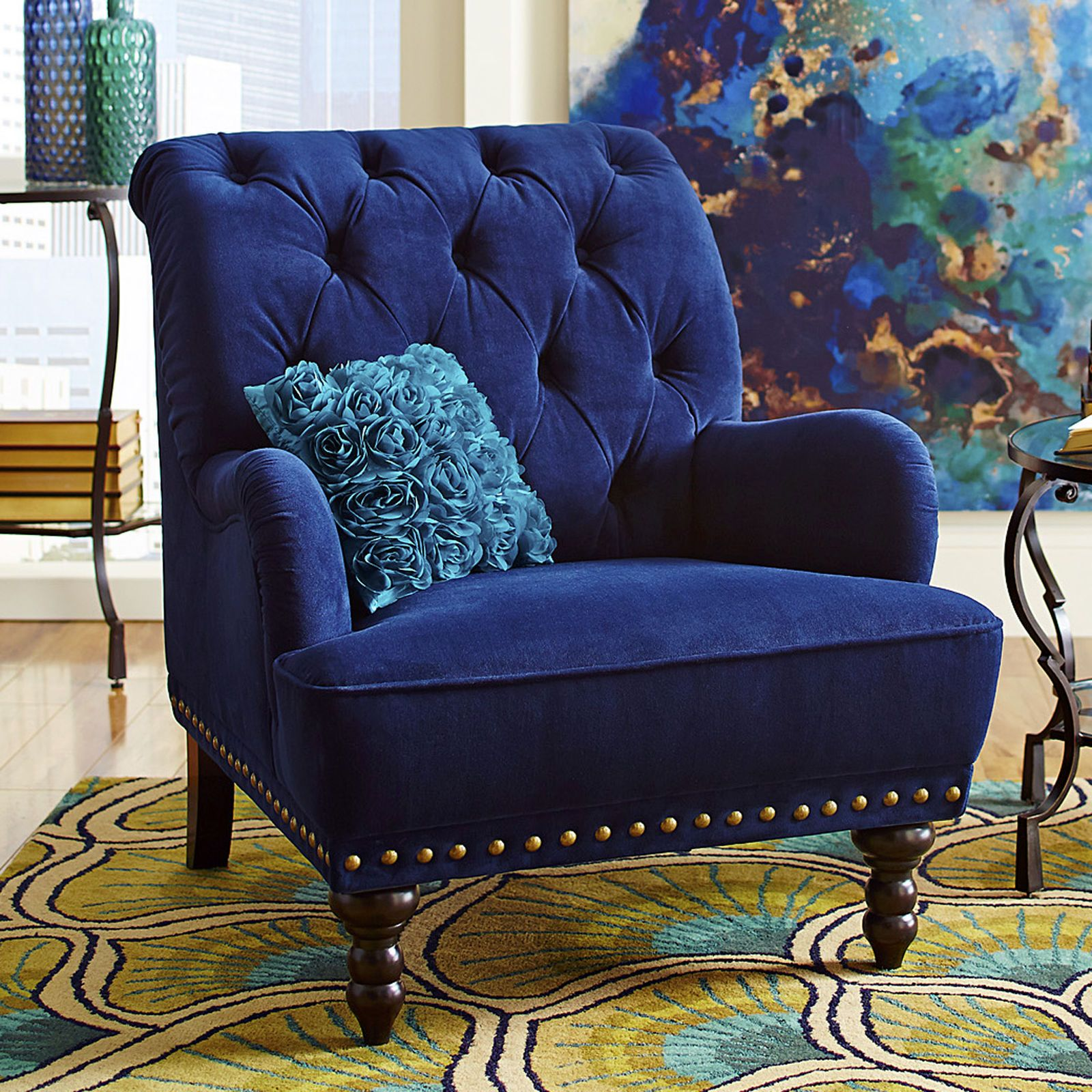 Chas Navy Blue Velvet Armchair Accent Chairs For Living Room