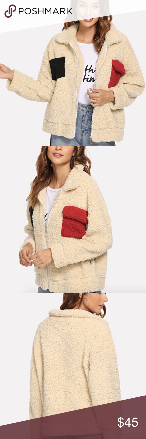 💛ONE Left!💛 Warm Teddy Pocket Plush Jacket Brand new in bag (boutique items from wholesaler are in plastic bags instead of piercing clothing with individual tags). Super plush teddy zip-up jacket with pocket-look detail. Jacket is purposefully an