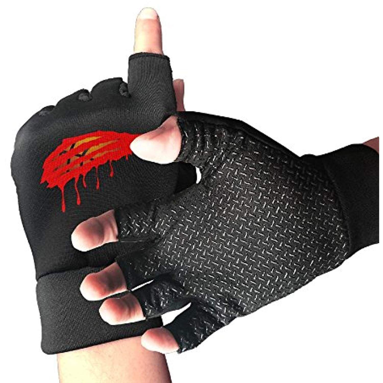 Huayaa Unisex Fingerless Gloves Red Basketball Sports Semi