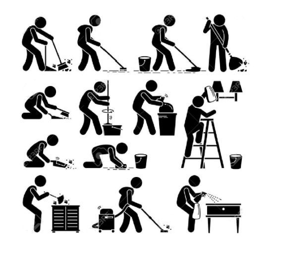 Man Washing And Cleaning House Cliparts Stock Vector