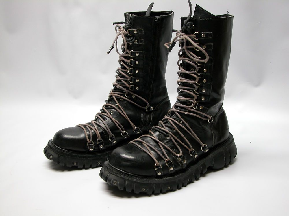 Anarchic Tall Combat Boots Side Zip Black Patent Leather Punk Goth Size 9 Mens Casual Dress Shoes Tall Combat Boots Combat Boots