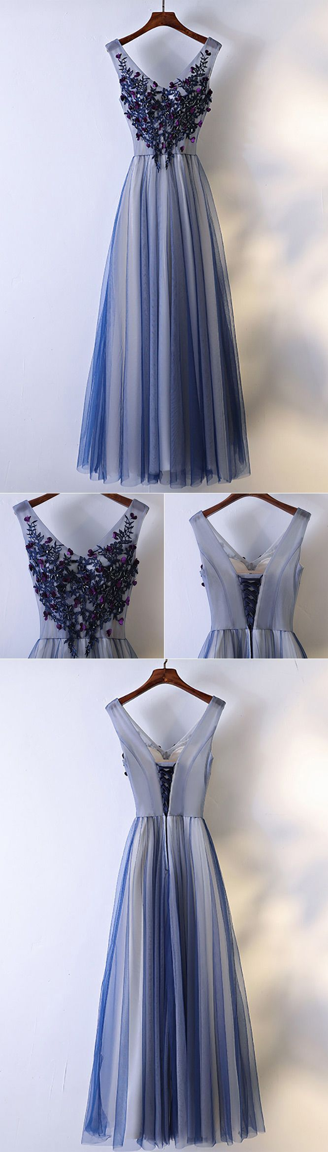 Unique navy blue long tulle prom dress vneck sleeveless myx