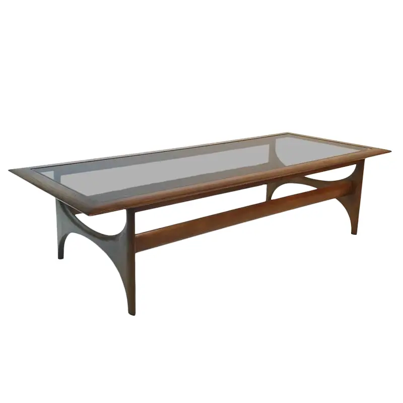 Mid Century Modern Sculptural Walnut And Glass Rectangular Coffee Table By Lane In 2020 Rectangular Coffee Table Modern Glass Transitional Coffee Tables