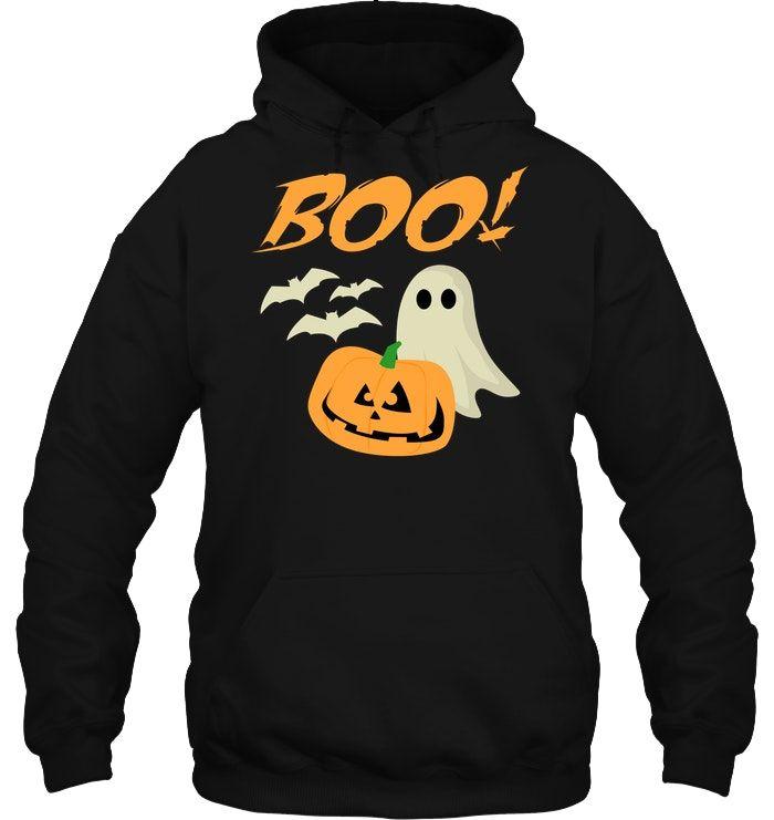 Boo Halloween Ghost Bats Jack O Lantern Unisex Hoodie