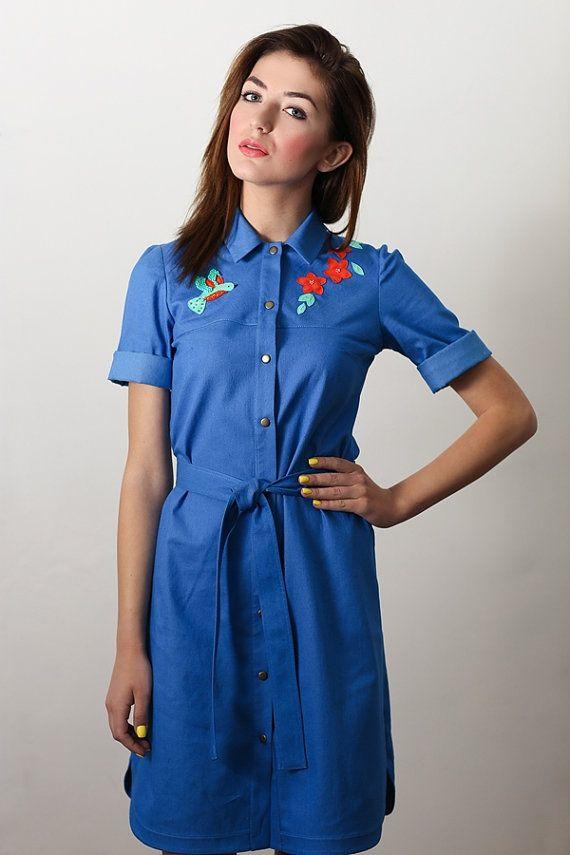 9ae4d84bb5 denim vestito abito camicia denim appliqued vestito di Ecattus ...