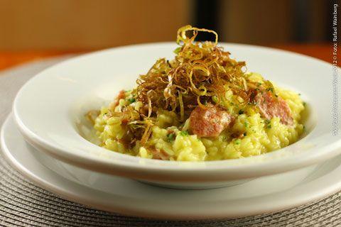 Carlini - Móoca (almoço)    Risotto Calabrese  Arroz arbóreo, lingüiça calabresa com crisps de alho poro