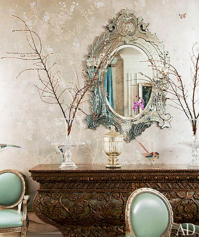 Gwyneth Paltrow's Dining Room from Elle Decor, with  de Gournay  paper, the mirror is fab