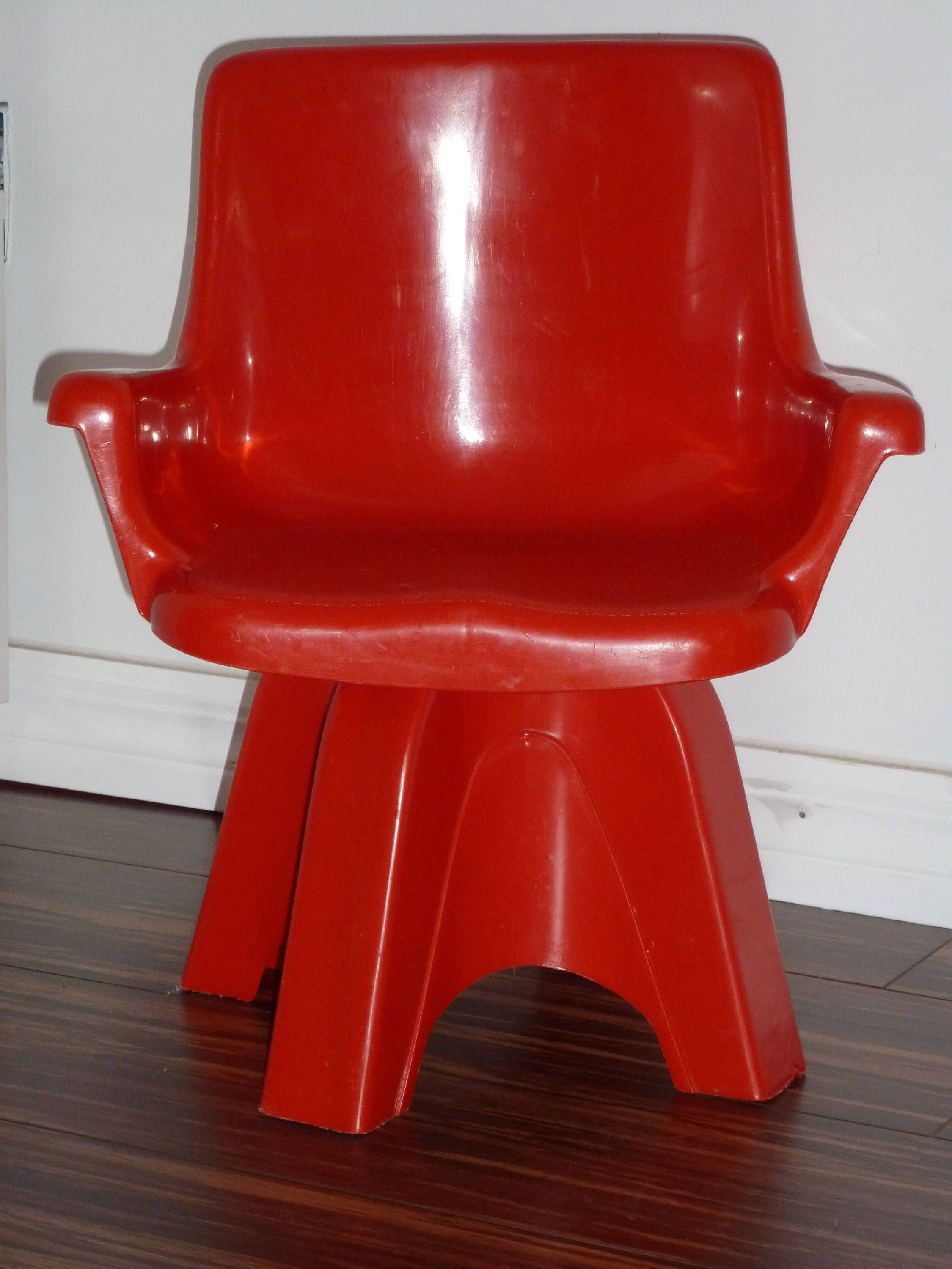 Clearance sale rare vintage red modern swivel chair for