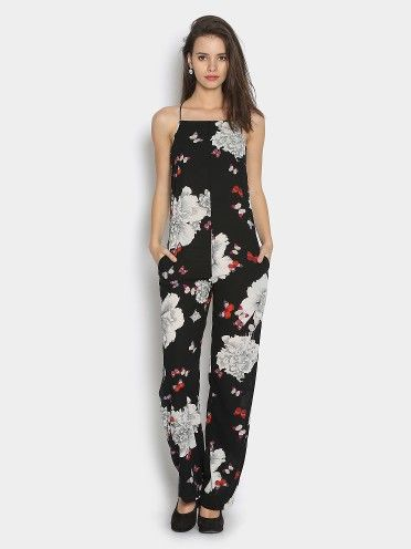 f1d9f6c4023 Only Women Black   White Floral Print Jumpsuit  Only