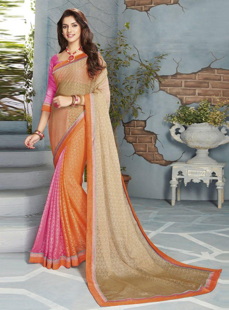 Traditional tunisian wedding dress  Orange Chiffon Casual Wear Saree   Chiffon Saree  Pinterest