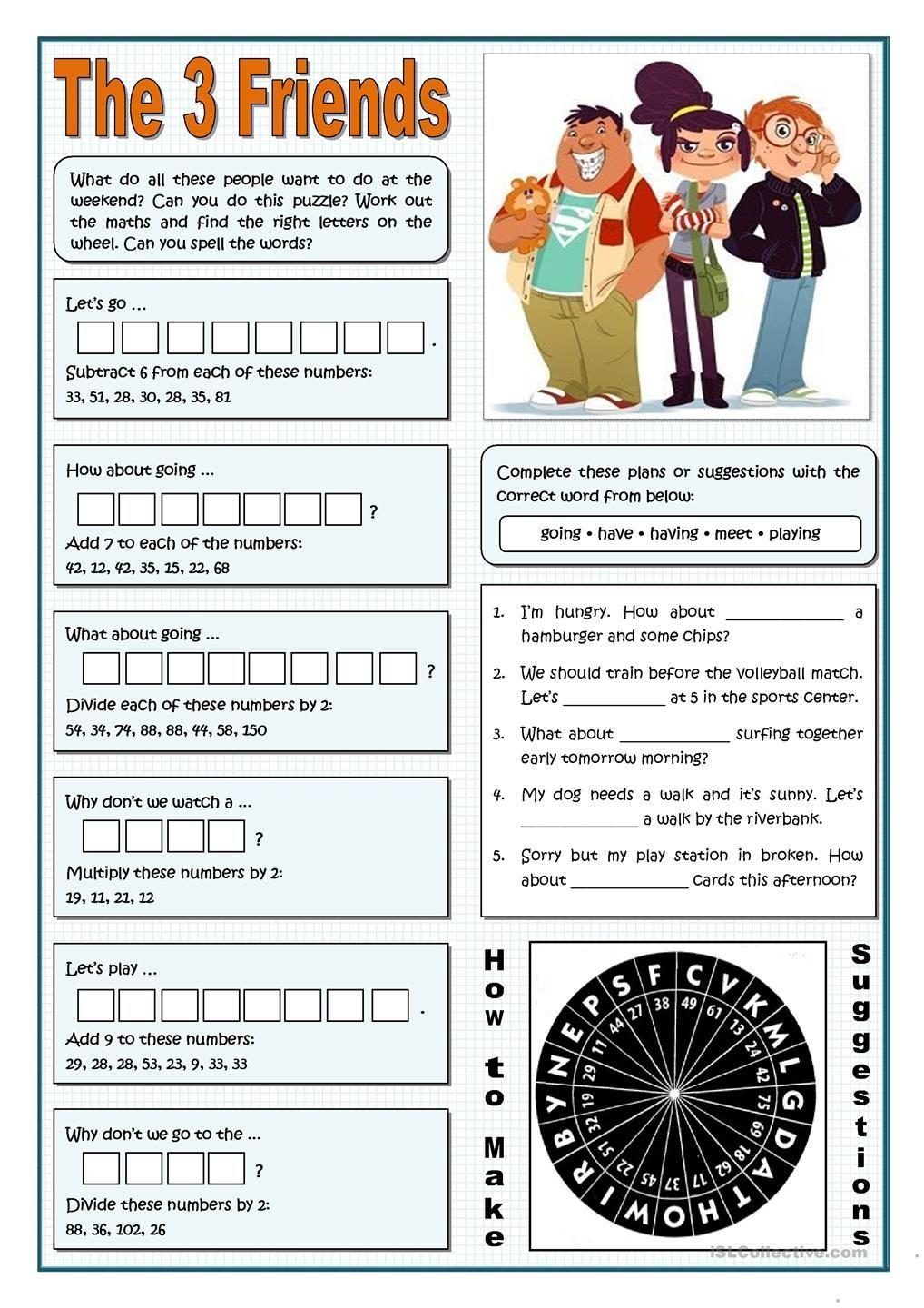 worksheet How Observant Are You Worksheet the three friends making suggestions esl 2 pinterest gerund or infinitive worksheet free printable worksheets made by teachers