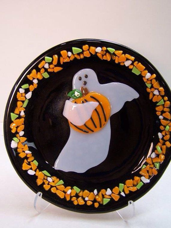 Ghost stealing the Pumpkin Round Plate on Etsy, $4500 My holiday - halloween potluck sign up sheet template