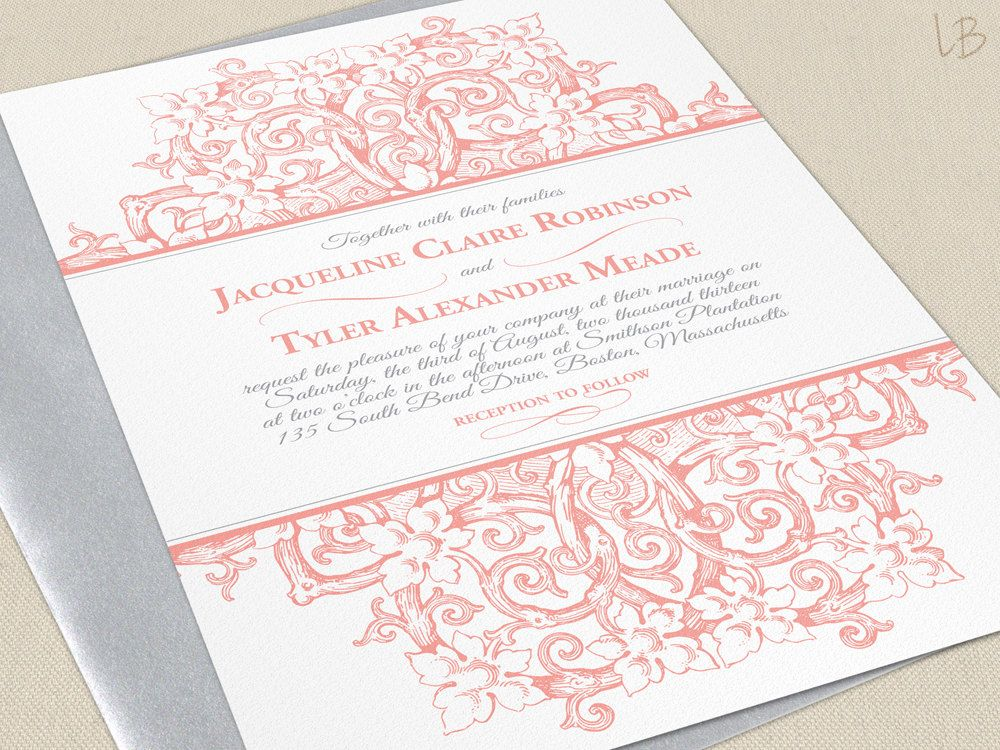 Victorian Wedding Invitation SAMPLE - Coral Wedding Invites - Pink - formal invitation style