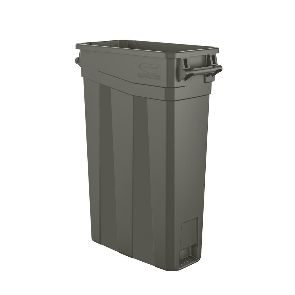 Suncast Commercial 23 Gal Resin Slim Trash Can Tcnh2030 Garbage