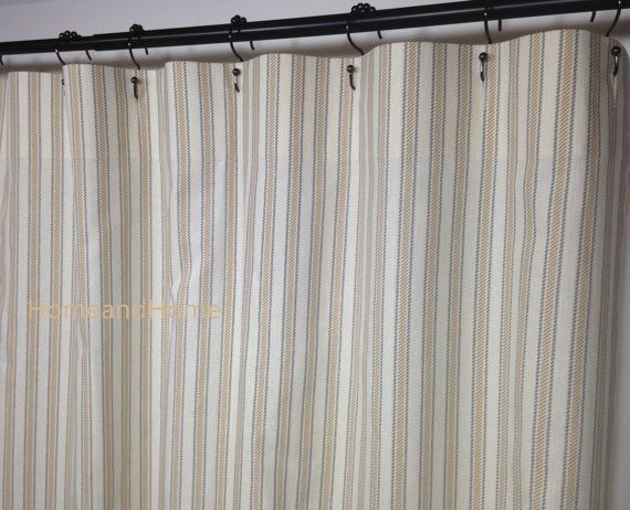 Fabric Shower Curtain Ticking Boulevard Grey Tan By HomeandHome