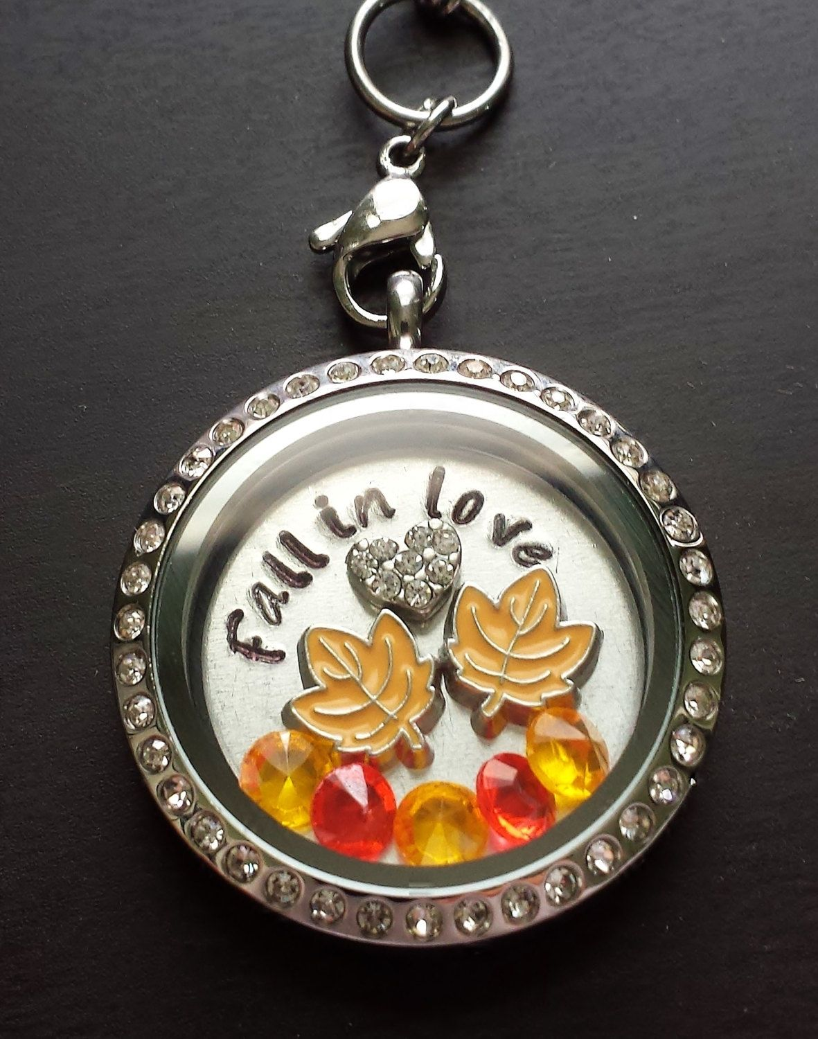 Floating locket necklace includes locket charms hand stamped fall themed floating charm locket necklace fall in love window plate floating charms aloadofball Image collections