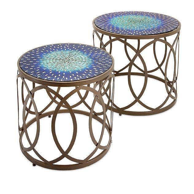 Oval Circles Metal Blue Mosaic Accent Table Set Of 2 Mosaic