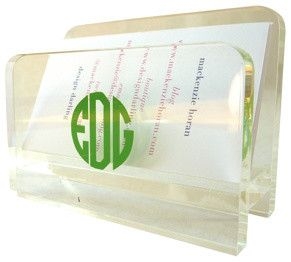 Monogrammed Acrylic Business Card Holder contemporary desk accessories