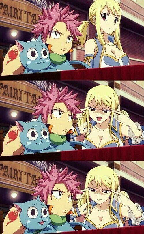 Natsu, Lucy, Happy, funny, comic; Fairy Tail