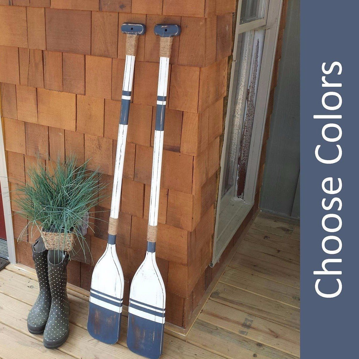Nautical Wall Decor Oars: Pair Of Wooden Oars In 2019