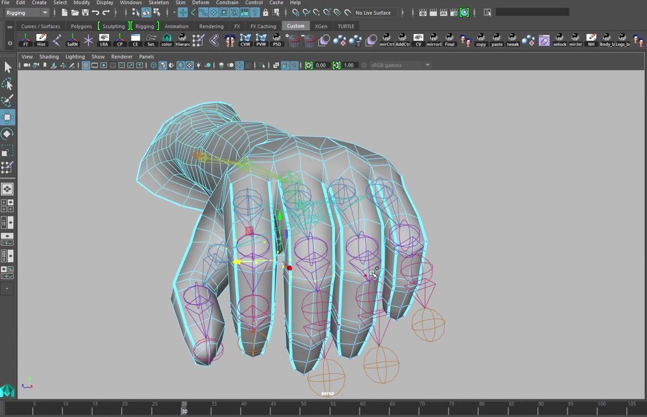 Skin Fingers Evenly in Maya, RWBY, Rigging, Animation