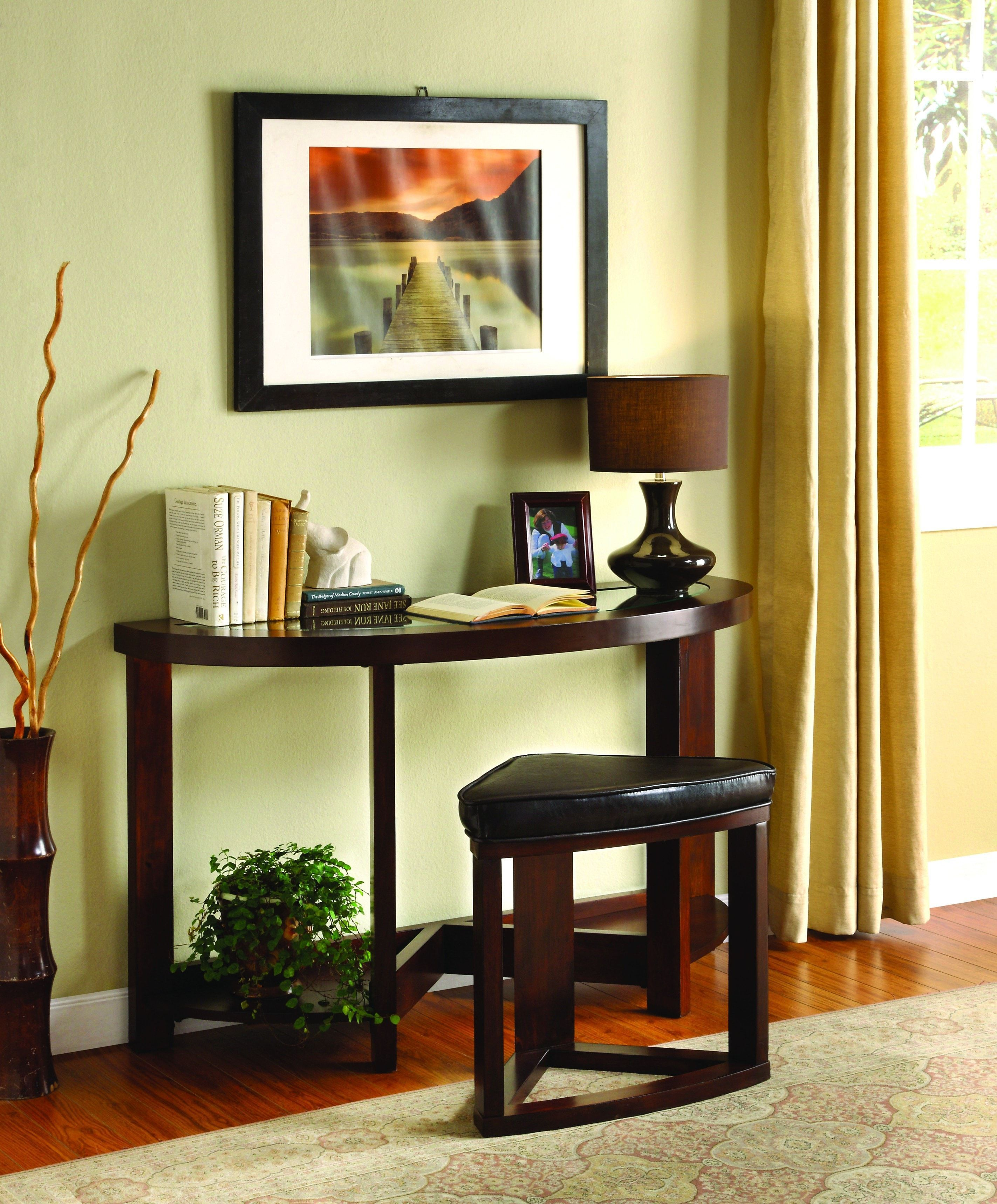 Ingle Transitional Sofa Table with Stool