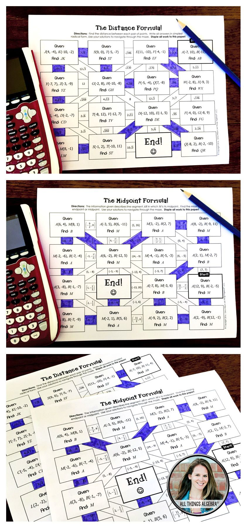Distance Formula and Midpoint Formula Mazes | Maze, Distance and Math