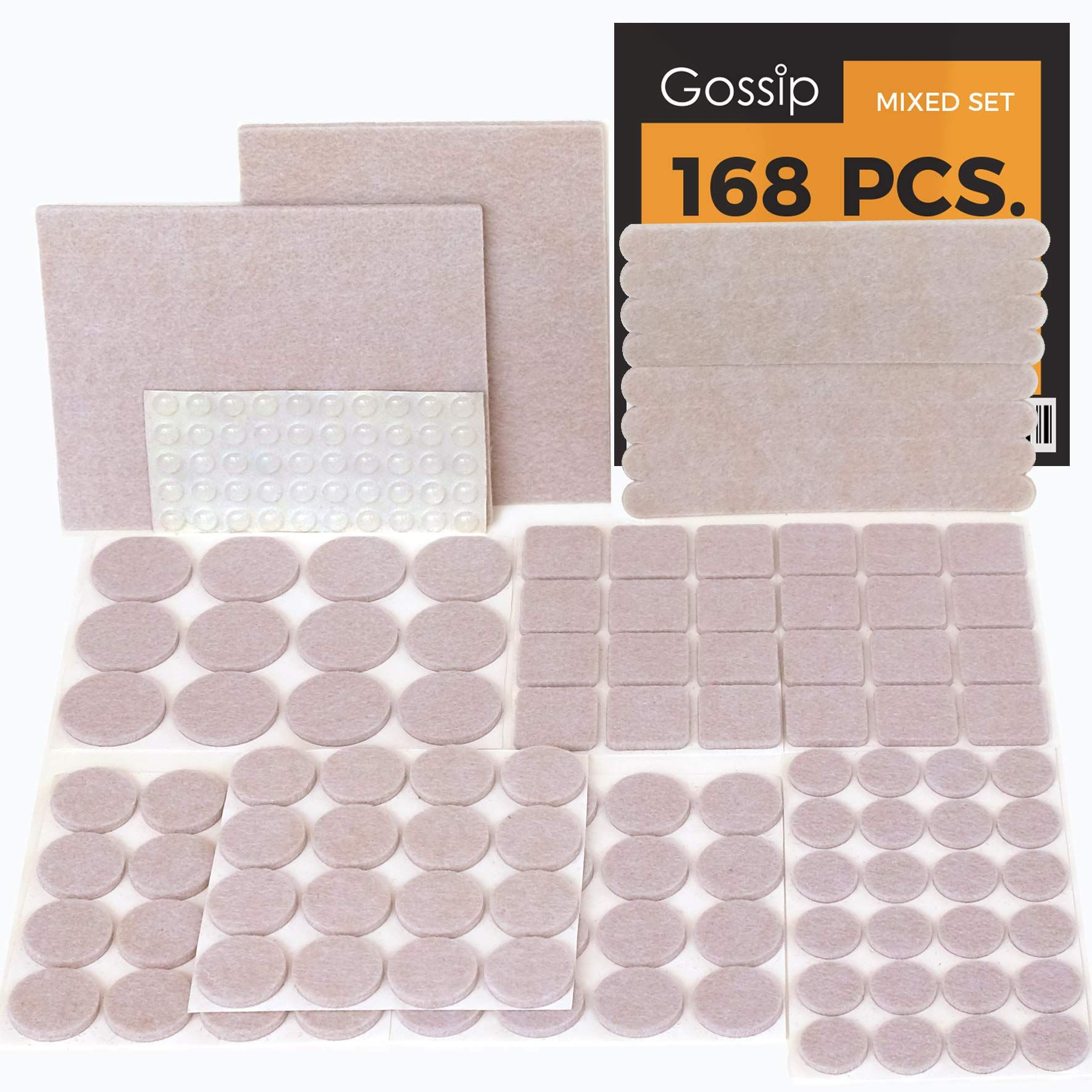 Gossip Felt Furniture Pads Beige Set 168 Pcs Value Pack Heavy