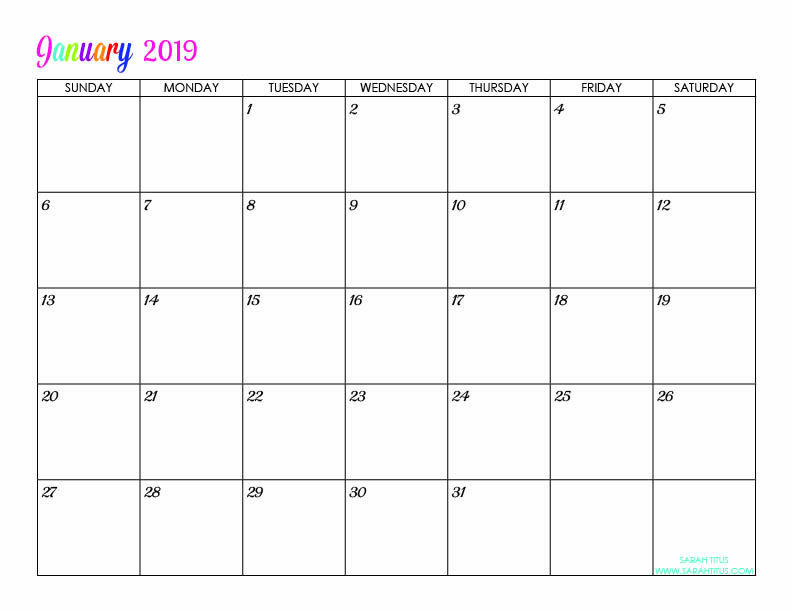Custom Editable Free Printable 2019 Calendars Free