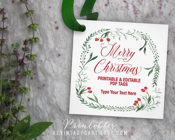 Merry Christmas Tags Editable Christmas Gift Tag Template - christmas tag template