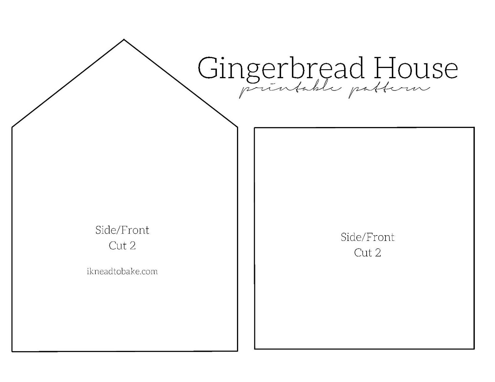 Lively image with gingerbread house printable template