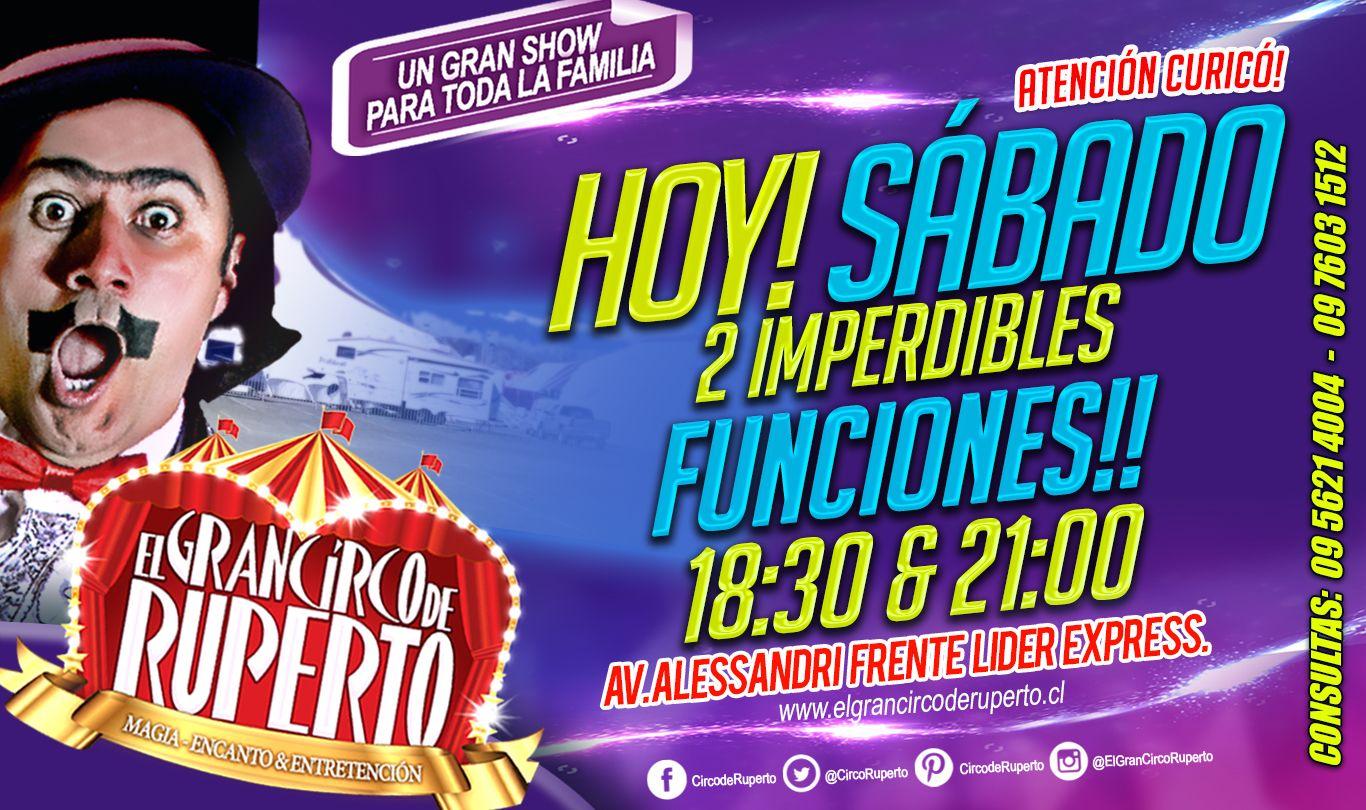 """ATENCIÓN CURICÓ!! HOY SÁBADO!!!! Que no te lo cuenten!!! Ven a vivir esta experiencia única, en donde la Magia, el Encanto y la Entretención, se unen para brindarte un MEGA espectáculo!! Ven a uno de los Circos mas modernos de Sudamérica, Tecnología y vanguardia, Carpa Climatizada e impermeable!! Ven a disfrutar de un Show """"Diseñado Exclusivamente para toda la Familia"""". HOY! Sábado 2 FUNCIONES: 18:30 & 21:00 HRS MAÑANA! Domingo 3 FUNCIONES: 16:00 - 18:30 & 21:00 HRS. Te esperamos!!!!😂"""